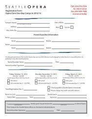 Registration Form Opera Time One-Day Camps in ... - Seattle Opera