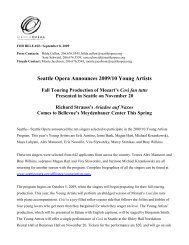 Seattle Opera Announces 2009/10 Young Artists