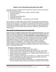 Health in the Individualized Education Plan (IEP)