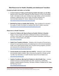 Web Resources for Health, Disability and Adolescent Transition