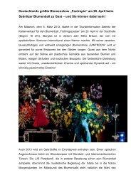 """Deutschlands größte Blumenshow """"Fantropia"""" am 20. April ... - Sebnitz"""