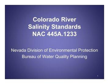 Colorado River Salinity Standards NAC 445A.1233 - Nevada State ...
