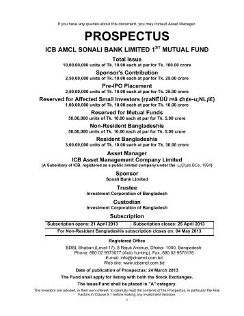 ICB-AMCL Sonali Bank Limited First Mutual Fund---- Prospectus