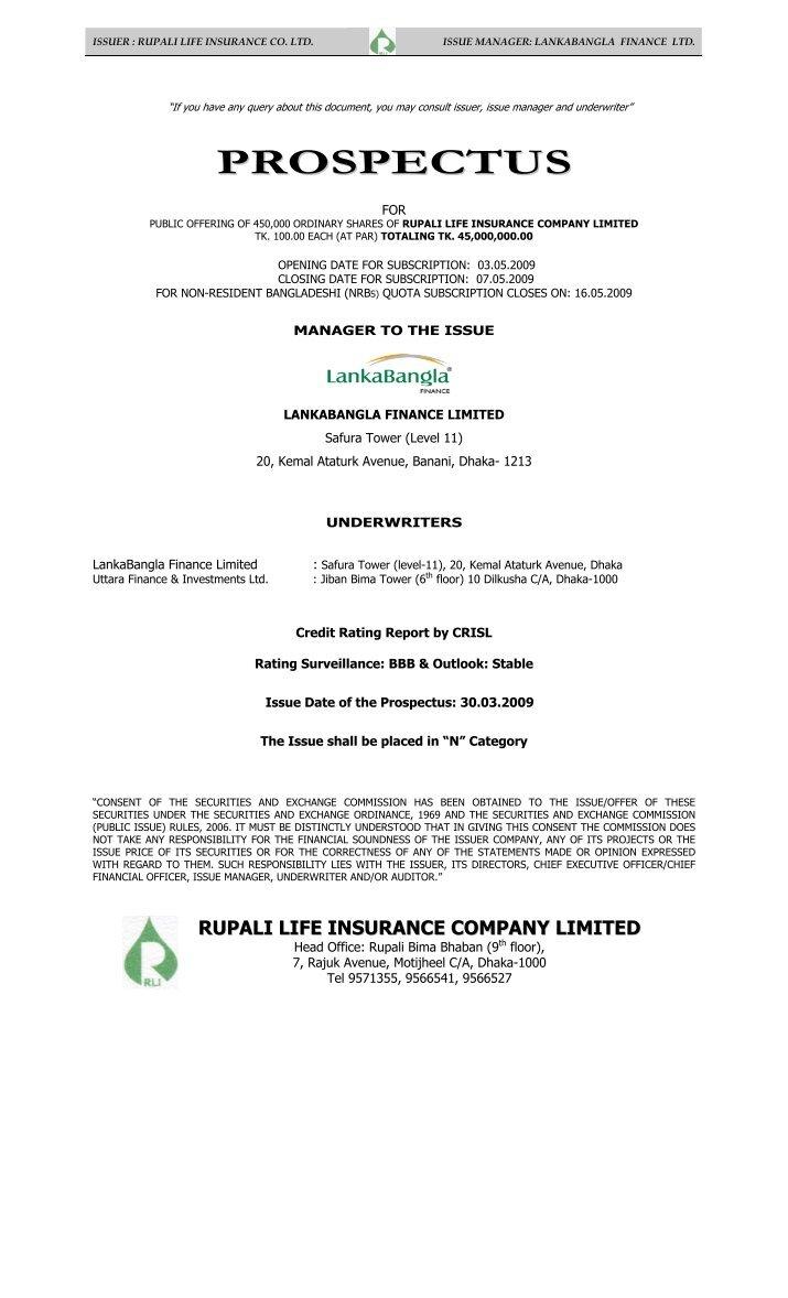 performance analysis of rupali life insurance