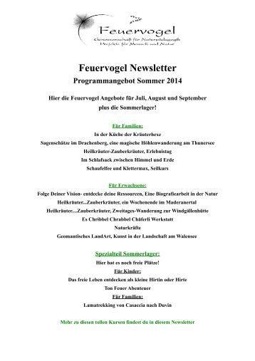 Feuervogel Newsletter - Sommerzeit...eine unbeschwerte Zeit wartet auf dich