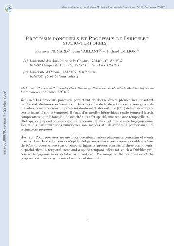 Processus Ponctuels et Processus de Dirichlet spatio-temporels