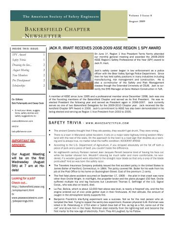 August 2009 ASSE Newsletter - Bakersfield Chapter of the American ...