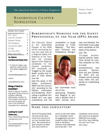 07 Sept ASSE Newsletter - Bakersfield Chapter of the American ...