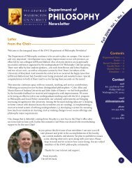 GWU Department of Philosophy Newsletter - Departments & Programs