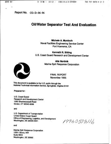 Oil/Water Separator Test And Evaluation. - The Black Vault