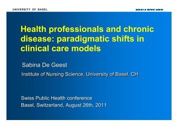 paradigmatic shifts in clinical care models - Swiss Public Health ...