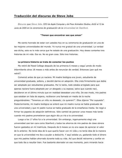9bf50c39179 Traducción del discurso de Steve Jobs