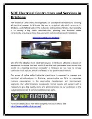 NDF Electrical Contractors and Services in Brisbane