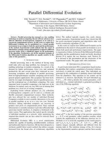 Parallel Differential Evolution - CiteSeerX