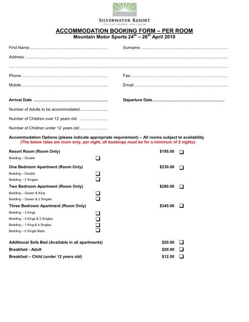 accommodation booking form – per room - Mountain Motorsports