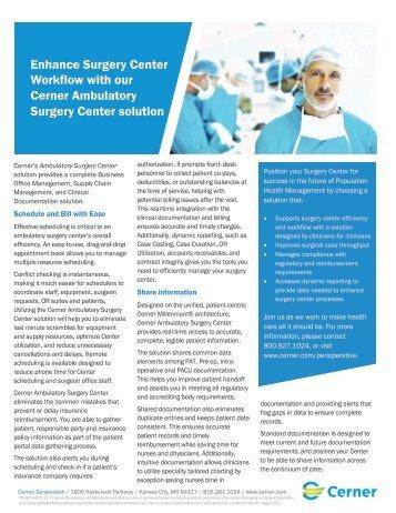 Download the Ambulatory Surgery Center Flyer - Cerner Corporation