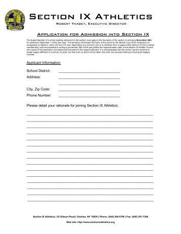Section IX Membership Application - Section IX Athletics