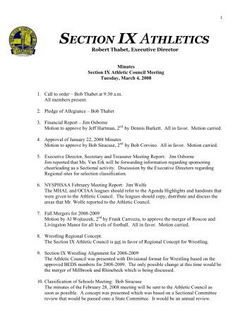 March 4, 2008 Click Here for Minutes - Section IX Athletics