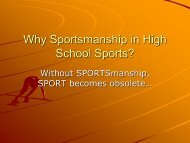 Why Sportsmanship in High School Sports? - Section IX Athletics