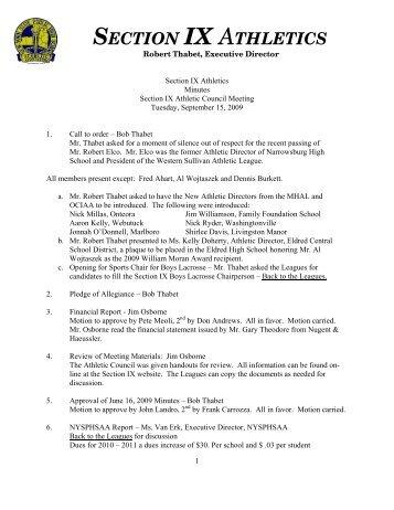 Minutes - Section IX Athletics