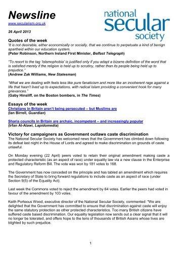 Newsline 26 April 2013 - National Secular Society