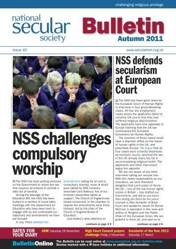 NSS Bulletin 49 Autumn 2011 - National Secular Society