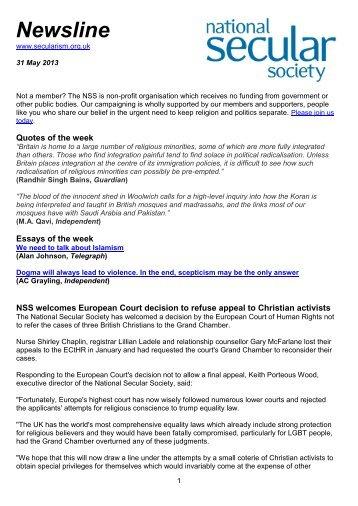 Newsline 31 May 2013 - National Secular Society