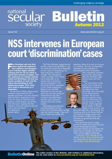 NSS Bulletin 52 Autumn 12 - National Secular Society