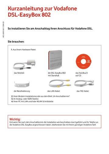 Kurzanleitung zur Vodafone DSL-EasyBox 802