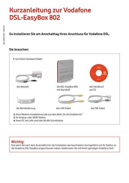 Kurzanleitung Zur Vodafone Dsl Easybox 802