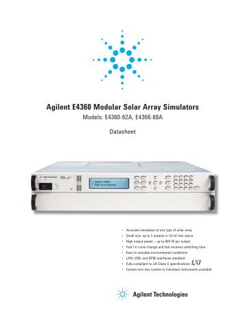 Agilent E4360 Modular Solar Array Simulators - Agilent Technologies