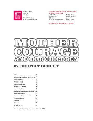 Mother Courage Resource Pack - English Touring Theatre