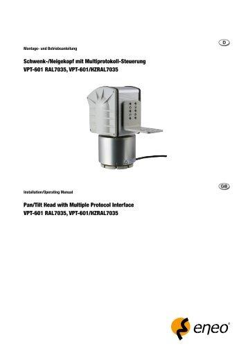 Pan/Tilt Head with Multiple Protocol Interface VPT-601 ... - Belcom