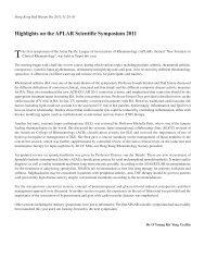 Highlights on the APLAR Scientific Symposium 2011