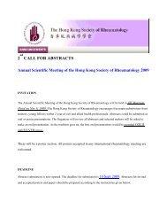 2 CALL FOR ABSTRACTS - The Hong Kong Society of Rheumatology
