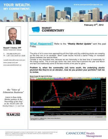 "Refer to the ""Weekly Market Update"" - Secureretirement.ca"