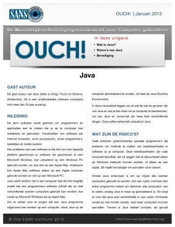 OUCH! | Januari 2013 - Securing the Human