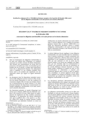 RÈGLEMENT (CE) No 1924/2006 DU PARLEMENT ... - EUR-Lex