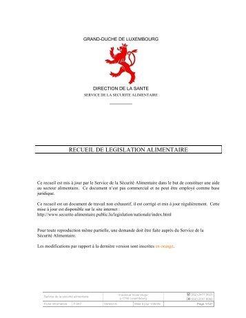 RECUEIL DE LEGISLATION ALIMENTAIRE - Sécurité alimentaire