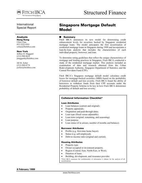 Singapore Mortgage Default Model - Securitization Net