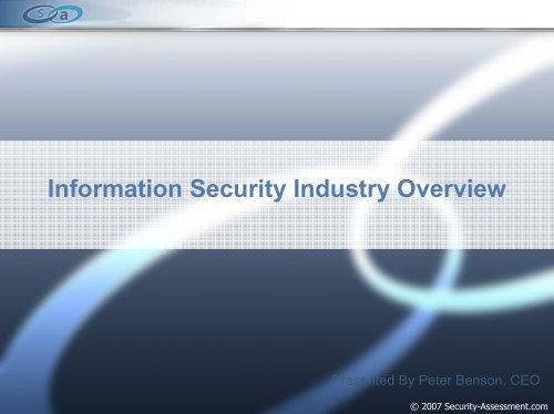 Industry Overview May 2007 B - Security Assessment