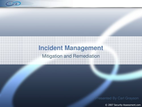 Incident Management - Security Assessment