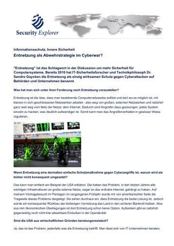 Entnetzung als Abwehrstrategie im Cyberwar? - Security Explorer