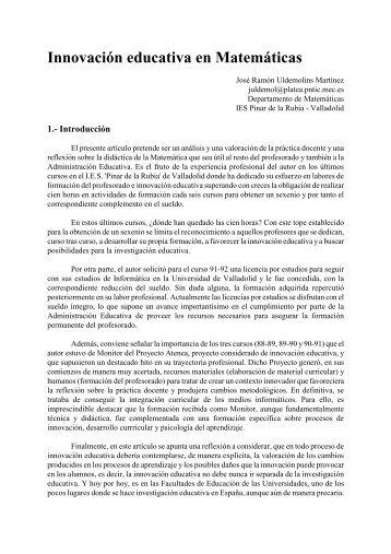 Innovación educativa en Matemáticas - Instituto Nacional de ...