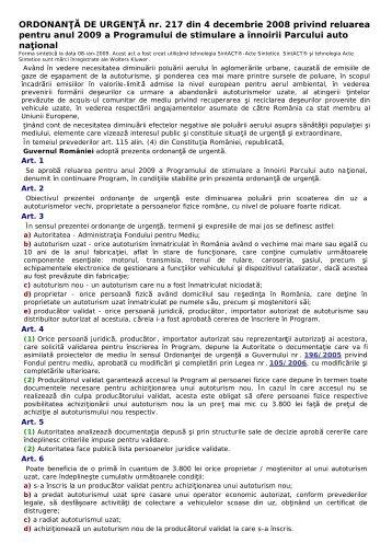 ORDONANŢĂ DE URGENŢĂ nr. 217 din 4 decembrie 2008 privind ...