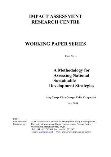 a methodology for assessing national - School of Environment and ...