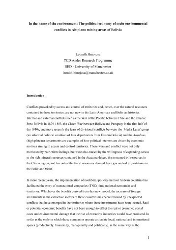 Hinojosa_Territory and conflicts in Bolivia - School of Environment ...