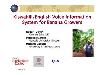 Kiswahili/English Voice Information System for Banana Growers