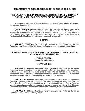 Reglamento del Primer Batallón de Transmisiones y Escuela Militar ...