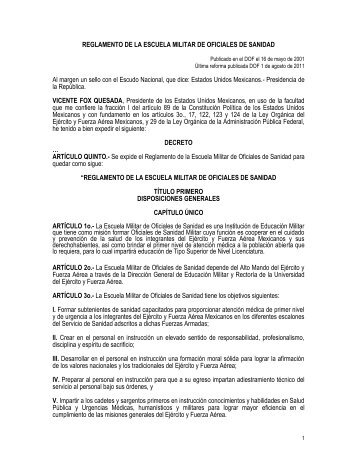 reglamento de la escuela militar de oficiales de sanidad